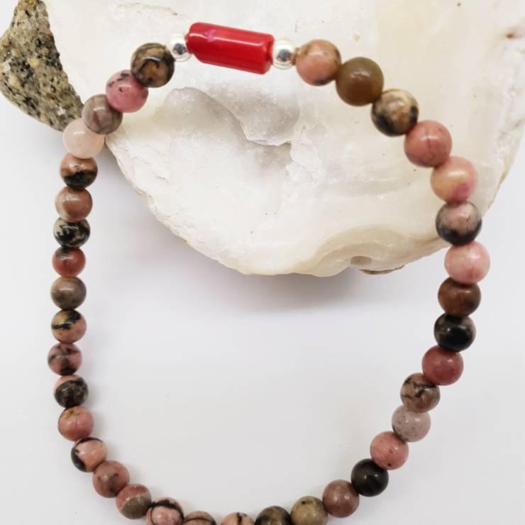 Bracelet perles naturelles rhodochrosite