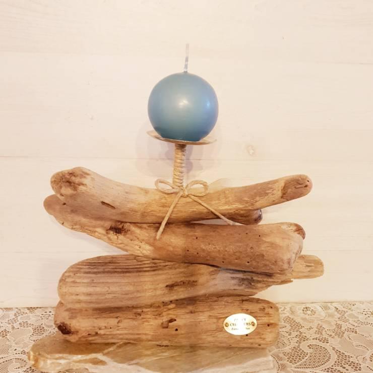 Bougeoir bois flotté avec bougie