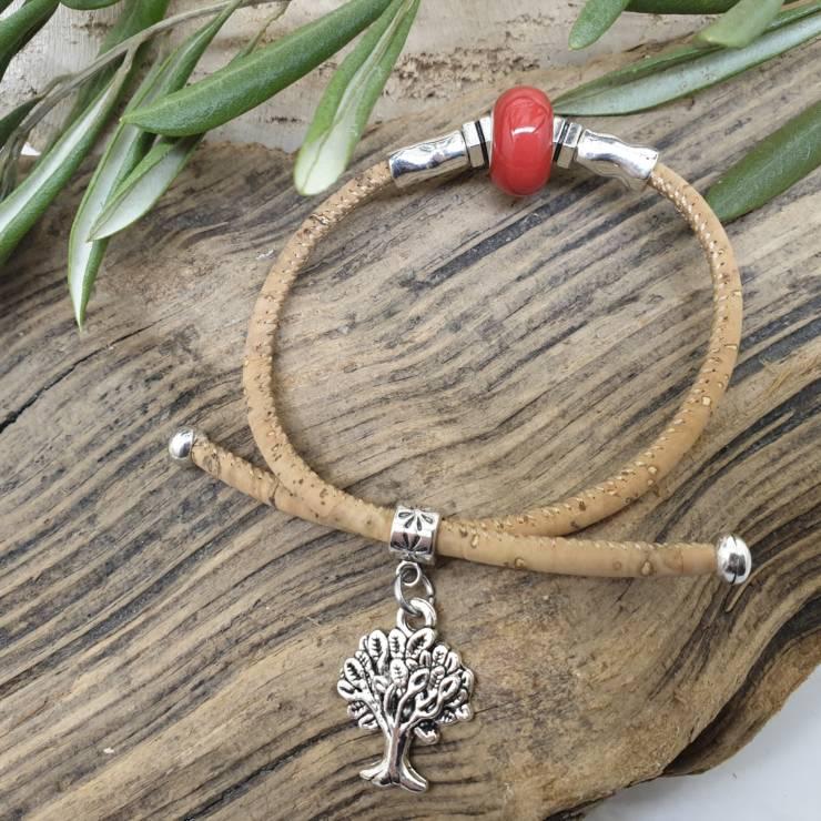 Bracelet liège perle de verre céramique