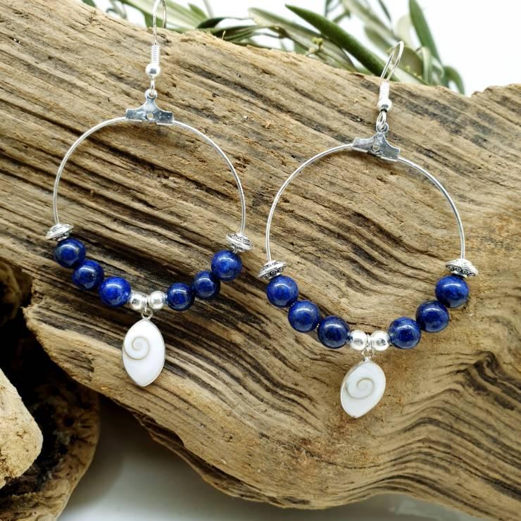 Création de boucles oreilles lapis lazulis