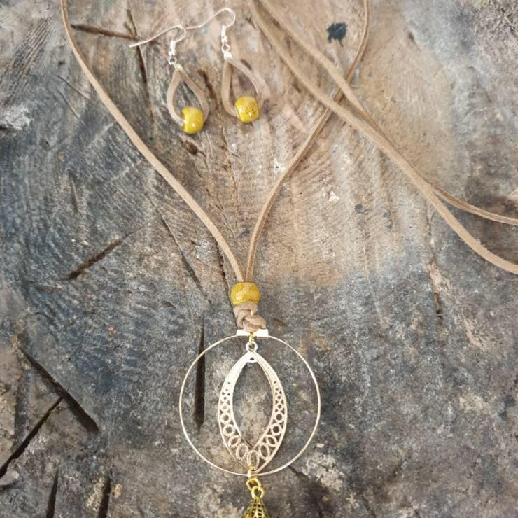 Boucles oreilles perles moutarde