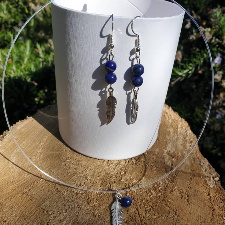 Collier et boucles d'oreilles perles naturelles améthyste