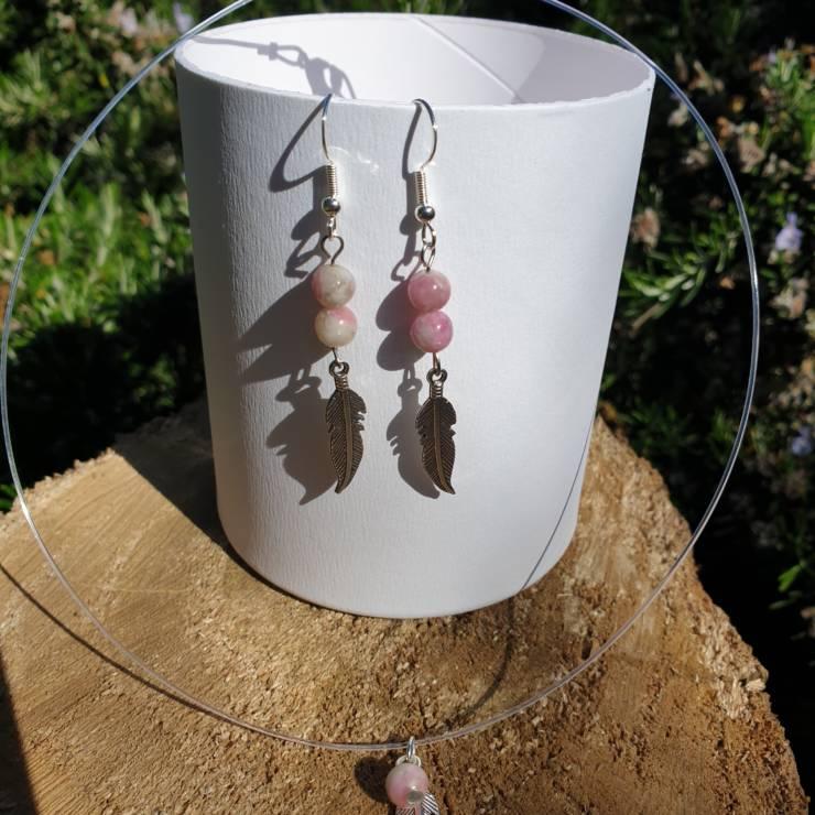 Collier et boucles d'oreilles perles naturelles rhodochrosite