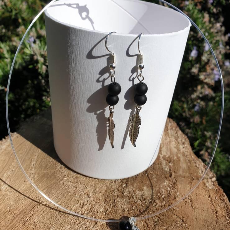 Collier et boucles d'oreilles perles naturelles onyx