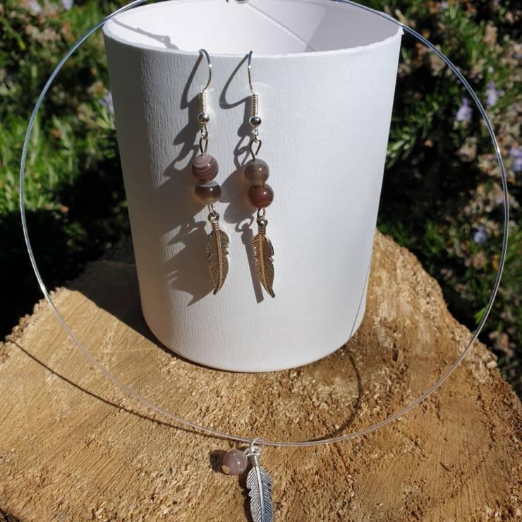 Collier et boucles d'oreilles perles naturelles cornaline