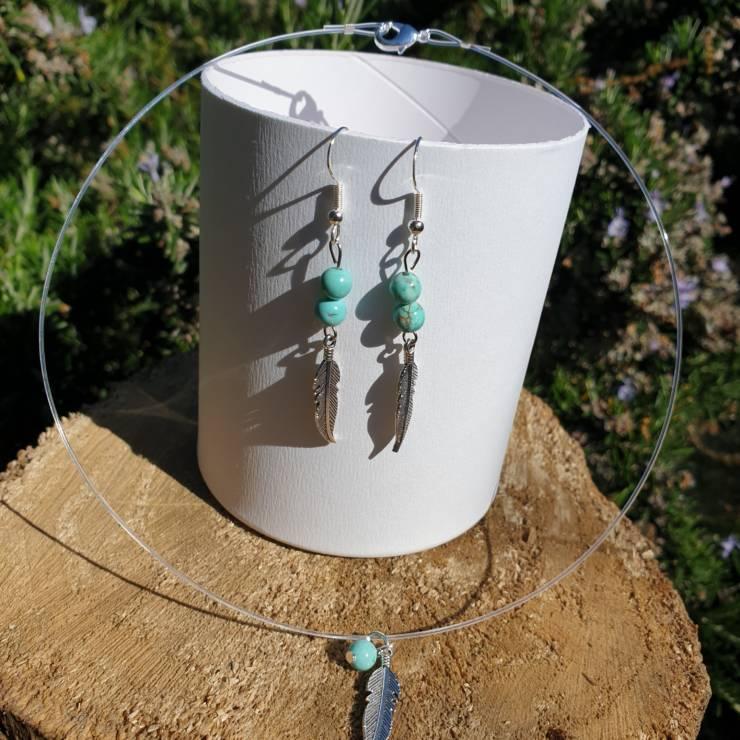 Collier et boucles d'oreilles perles naturelles