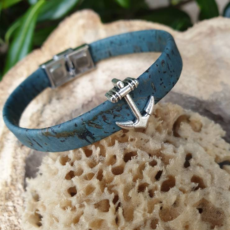 Bracelet liège bleu ancre marine