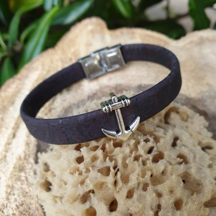 Bracelet liège ancre marine