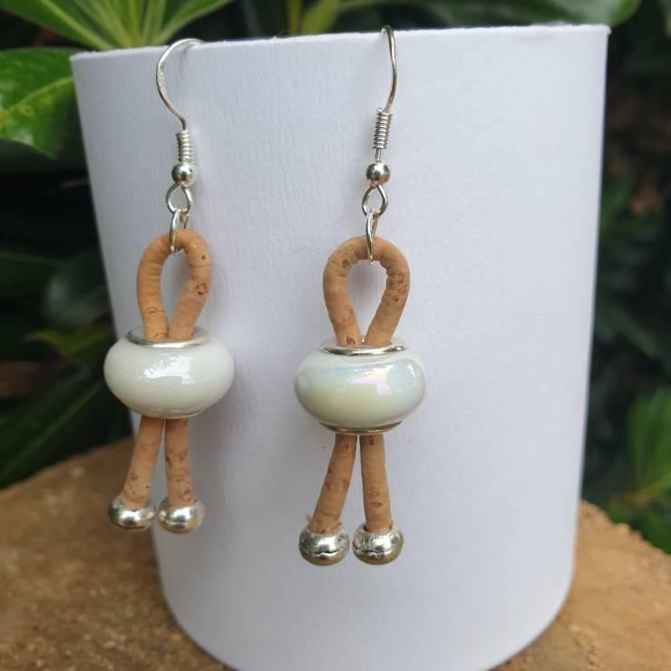 Boucles d'oreilles liège avec perles de verre céramique
