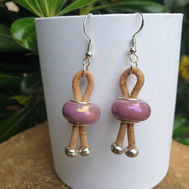 Boucles d'oreilles liège avec perle de verre céramique