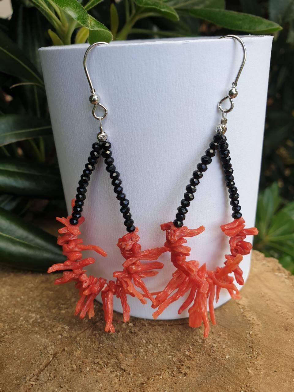 Boucles oreilles corail rouge et argent