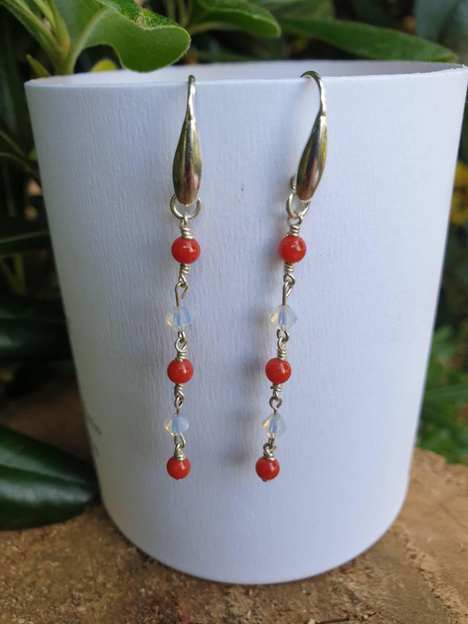 Boucles d'oreilles corail rouge et argent