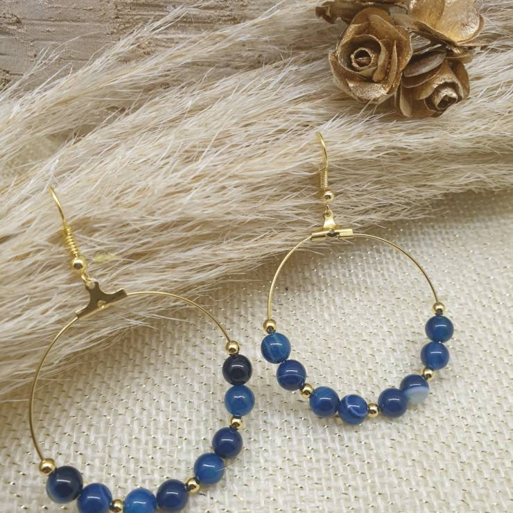 Créoles à perles de pierres naturelle agate paon