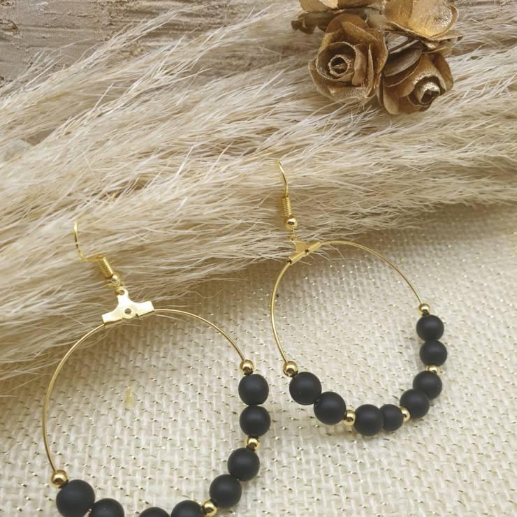 Créoles de perles en pierres naturelles onyx noire