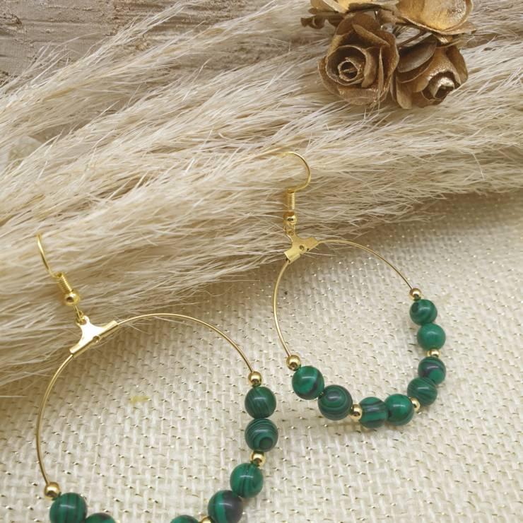 Créoles de perles en pierres naturelles malachite