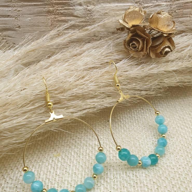 Créoles de perles en pierres naturelles amazonite