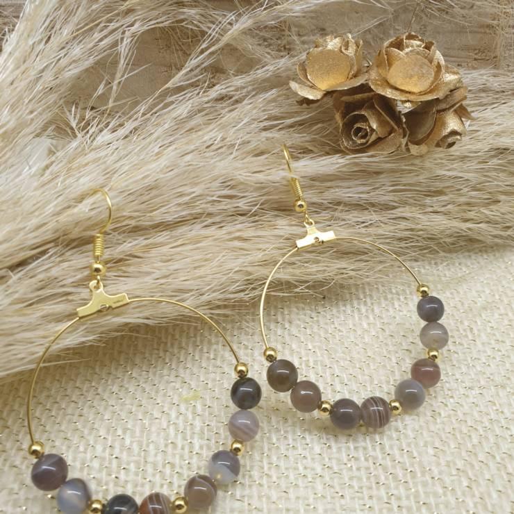 Créoles de perles naturelles agate boswana