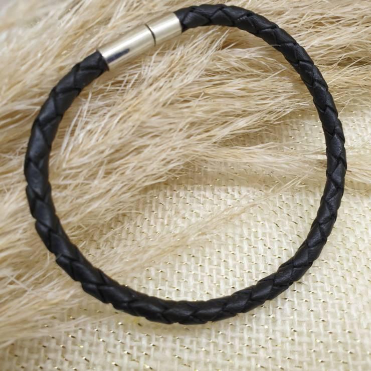 Bracelet cuir véritable, cuir tressé noir