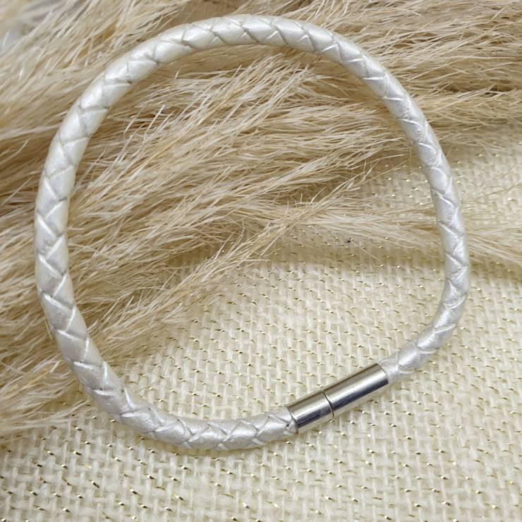 Bracelet cuir véritable, cuir tressé blanc
