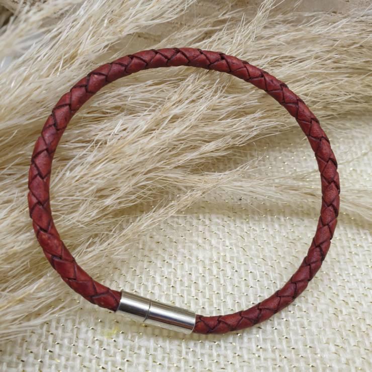 Bracelet cuir véritable, cuir tressé rouge