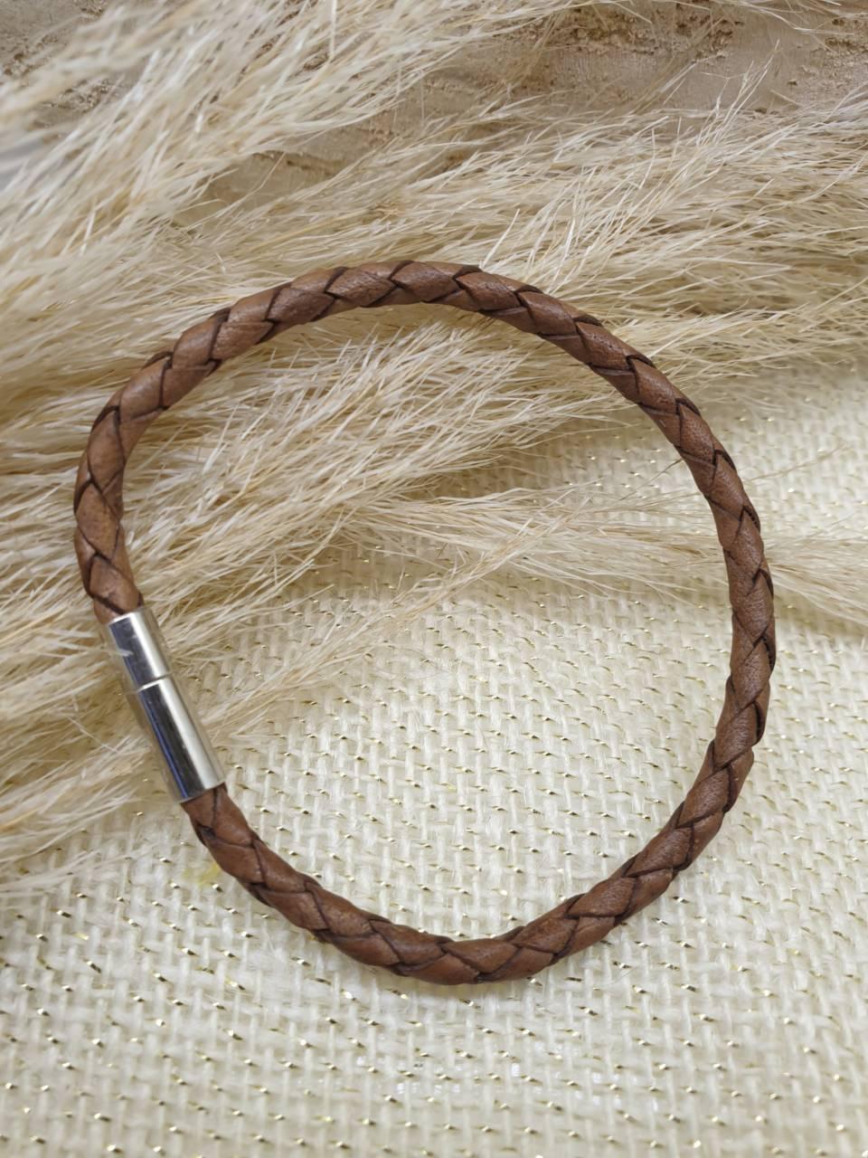 Bracelet cuir véritable, cuir tressé marron