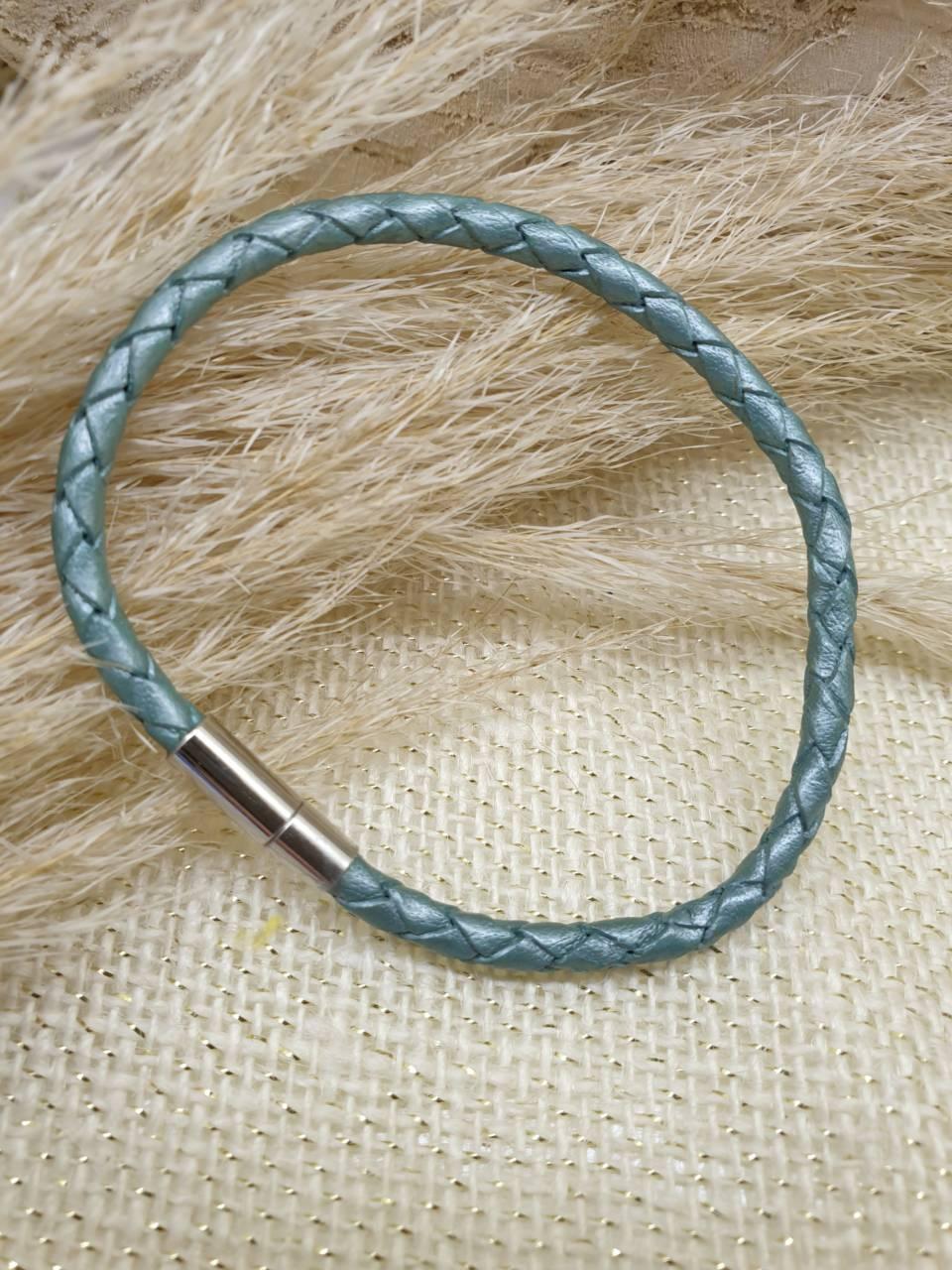 Bracelet cuir véritable, cuir tressé bleu