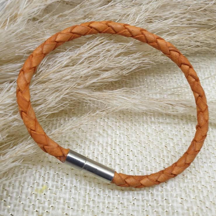 Bracelet cuir véritable, cuir tressé orange