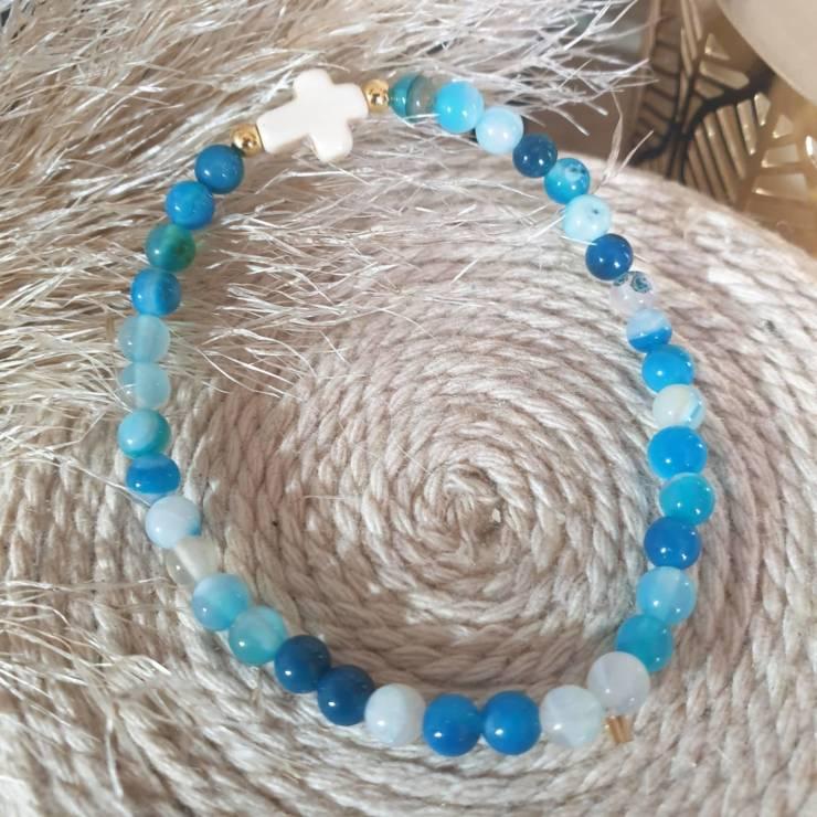 Bracelet perles naturelles agate paon