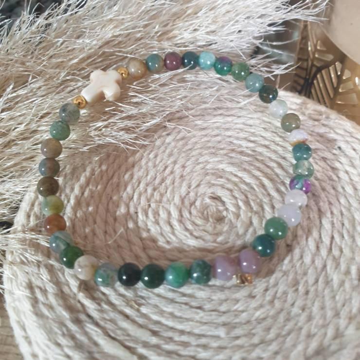 Bracelet pierres naturelles agate indienne