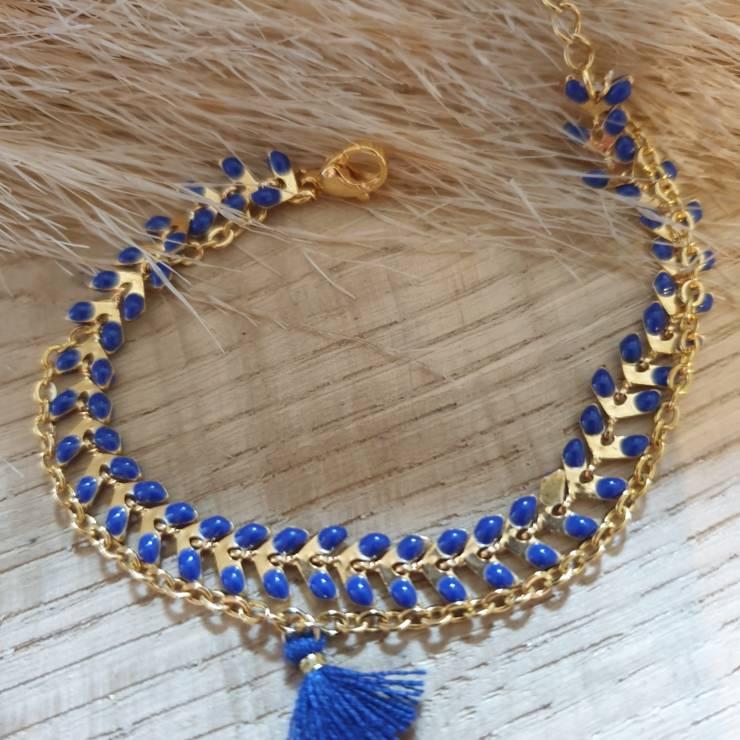 Bracelet chaîne épis doré émaillée bleu roi