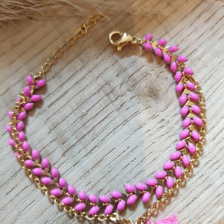 Bracelet chaîne épis doré émaillée rose